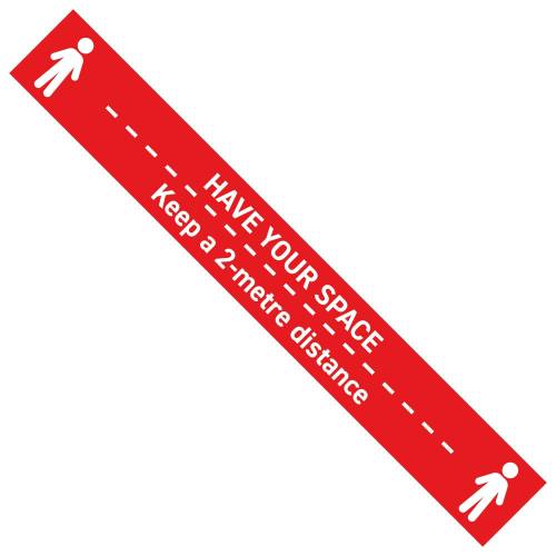 3000mm x 400mm Long Floor Graphic V2 Red Cover