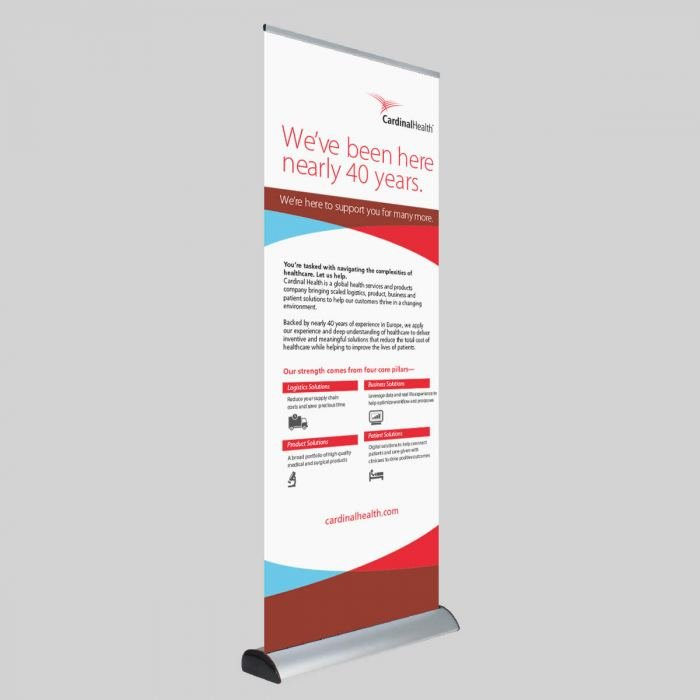 Deluxe roller banner printing in Bracknell by Printroom - gain the Advantage over your competitors