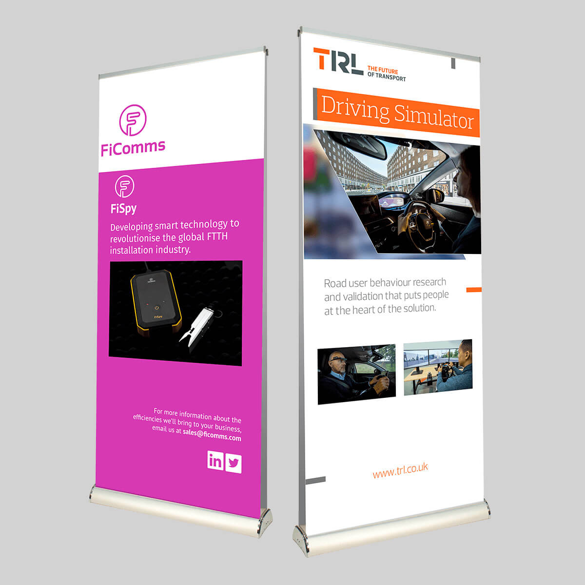 double sided pull up roller banner exhibition printing in Bracknell by Printroom