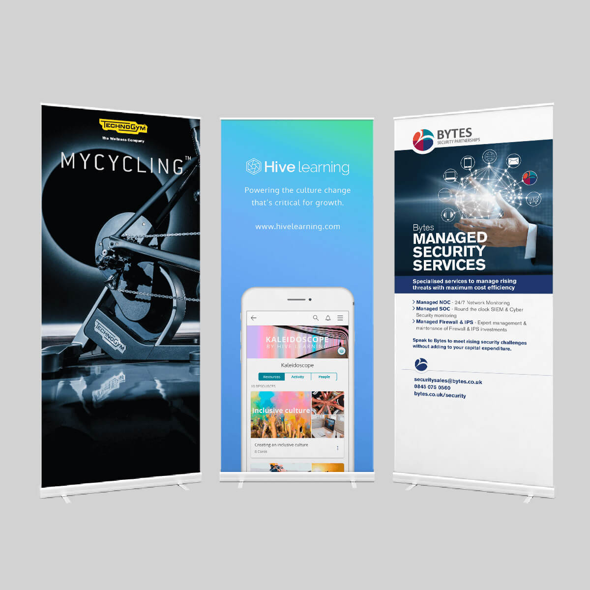 Examples of premium roller banner design. pull up roller banner exhibition printing in Bracknell by Printroom
