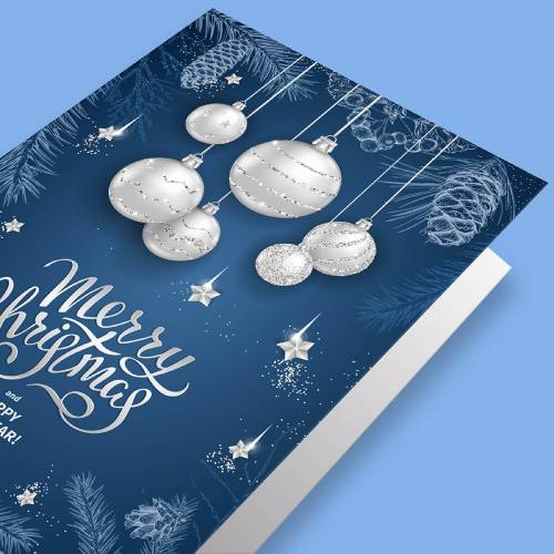 Christmas Card Silver Foiling